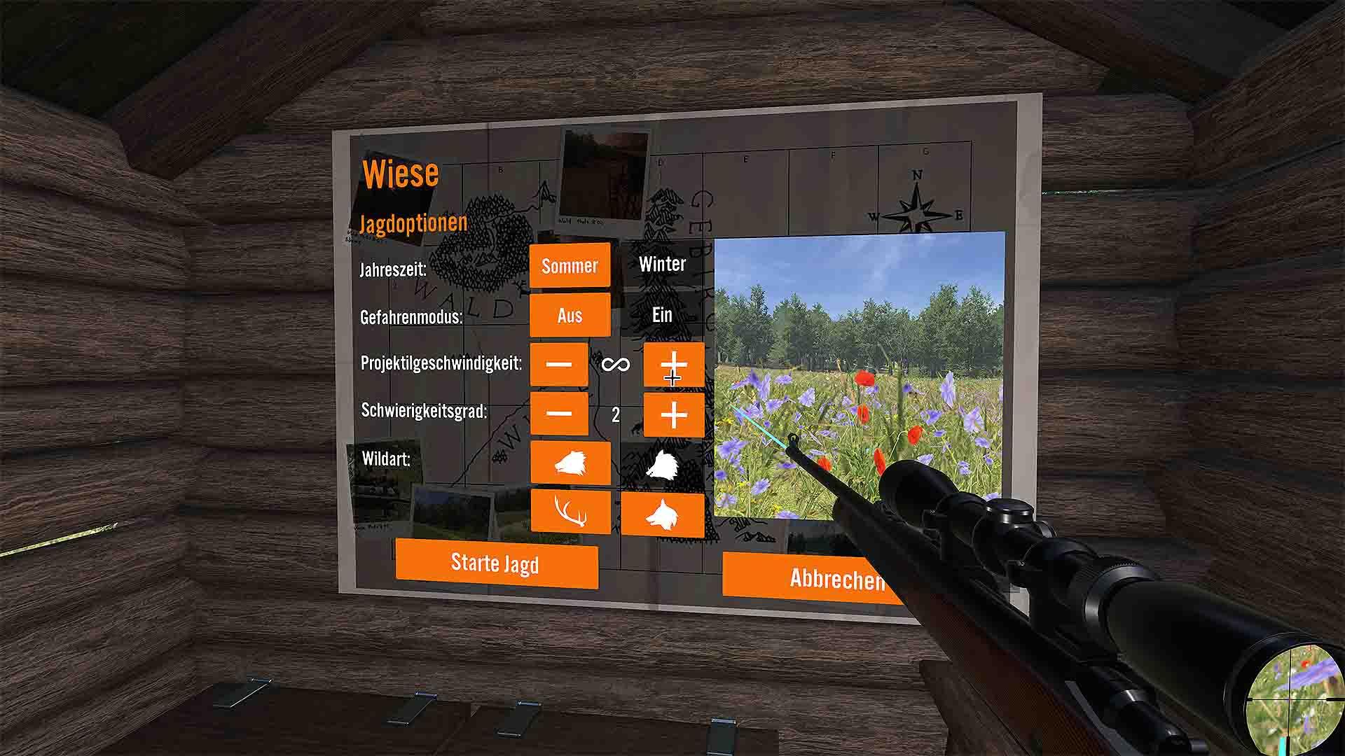 Clockstone VR Hunting Menü