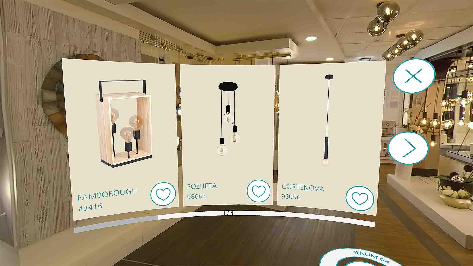 EGLO VR Showroom Leuchten Auflistung